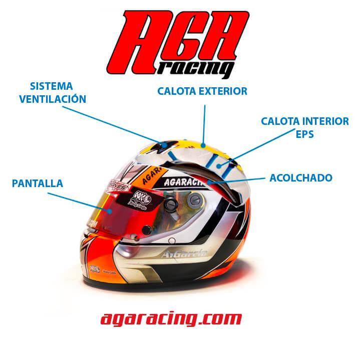partes casco de karting AGA Racing tienda karting
